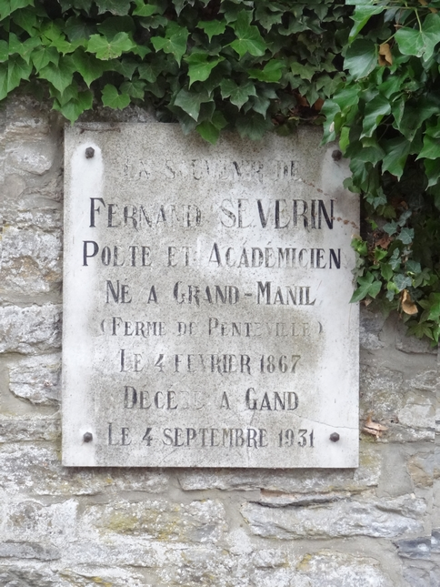 Plaque Fernand Severin (Grand-Manil, Gembloux)