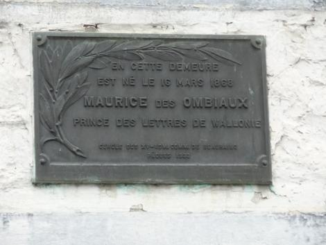 Plaque Maurice des Ombiaux (Beauraing)